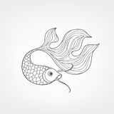 Fish isolated. Hand drawn doodle line decorative marine life bac. Fish isolated on white background. Doodle Line Art  pattern of underwater marine life in retro Stock Image