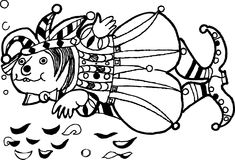 Fish - the jester, funny cartoon fish, black and white version. Hand drawn sketch of animals.Coloring book page,black and white version illustration.  Can be Stock Photography
