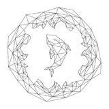 Fish jump with wave circle shape wireframe Polygon frame structure, aquatic and marine life concept design, Editable stroke illust. Ration isolated on white Stock Image