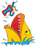 Fish jumping for bait. Colorful cartoon or illustration of a fish jumping to bite bait attached to a fishhook Royalty Free Stock Photo