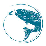 Fish jumping for bait vector. Fish jumping for bait. Silhouettes for fishing Stock Images