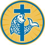 Fish Jumping With Cross Retro. Illustration of a fish jumping with Christian cross set inside circle done in retro style on isolated white background a sign Stock Photos