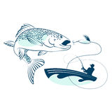 Fish jumping and a fisherman in a boat Stock Photo