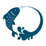Fish jumping hook. Fish jumping behind bait hook vector Royalty Free Stock Photo