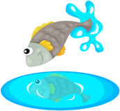 Fish jumping royalty free illustration