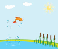 Fish jumping. Out of a lake Stock Photography
