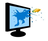 Fish jumping out of a monitor. Isolated Stock Photography