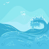 Fish jumping out of the ocean wave. Illustration in vector format Stock Photo
