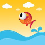 Fish jumping out of the water. A fish jumping out of the water Royalty Free Stock Photography