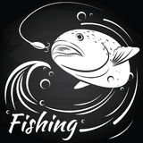 Fish jumping out of water to grab the bait. Vector illustration Chalkboard background.  Salmon. Fishing. Spoon Royalty Free Stock Photo