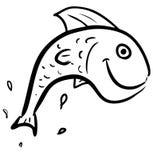 Fish jumping smiling character Stock Photos