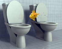 Fish jumping toilets. A fish jumping from one toilet to the other Royalty Free Stock Image