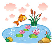 The fish jumps into the pond. Vector illustration with lake and fish Stock Photos