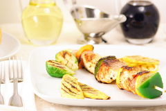 Fish kabob. Grill kabobs, rotating as needed, until salmon was cooked Stock Images