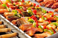 Fish kebab Stock Images