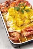 Fish Kebab Kebabs Shrimps Baking Tray Royalty Free Stock Photography