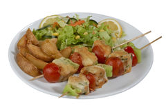 Fish kebab , skewered fish with vegetables Royalty Free Stock Photos