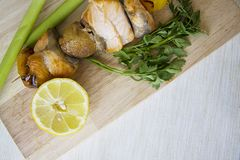 Fish kebob, copy space for text Royalty Free Stock Images
