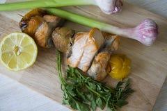 Fish kebob with garlic and lemon Royalty Free Stock Photo
