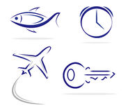 Fish Key Clock Plane icons Stock Images