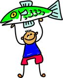 Fish kid. Little boy holding up his prize fish - toddler art series Royalty Free Stock Photo