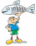 Fish kid - funny illustration. Little boy holding up his prize fish. Conceptual image to promote outdoor activities and sports among children aged preescolar Royalty Free Stock Photography