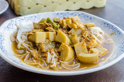 Fish Kidney Thick Spicy Soup with Thai rice vermicelli Royalty Free Stock Photography