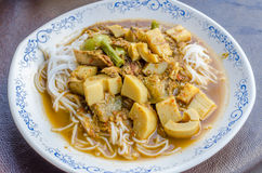 Fish Kidney Thick Spicy Soup with Thai rice vermicelli Royalty Free Stock Photos