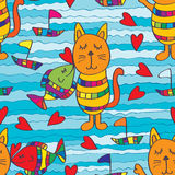 Fish kiss cat seamless pattern Royalty Free Stock Image
