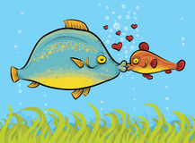 Fish Kiss. Two colorful, happy cartoon fish kiss underwater Royalty Free Stock Image