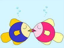 Fish kissing. Two fish share a romantic underwater kiss - illustration with copy space Stock Photos