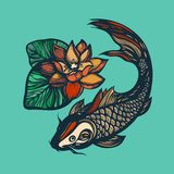 Fish koi and lotus flower. Print Chinese style. Chinese symbol of good luck, courage, persistence, perseverance, wisdom and vitali. Ty. Vector illustration. Hand Royalty Free Stock Images