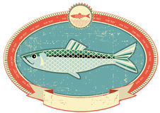 Fish label on old paper texture. Vintage style Stock Photography