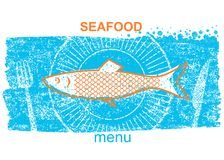 Fish label.Vintage style of menu on blue old paper background. With text Royalty Free Stock Photo