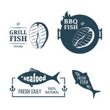 Fish labels. Grill fish and seafood vector set labels Stock Photos