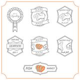 Fish labels. Set of made with fish stamps, labels and badges Stock Photography