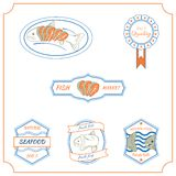 Fish labels. Set of made with fish stamps, labels and badges Stock Images