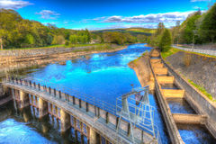 Fish ladder Pitlochry Scotland UK River Tummel in colourful hdr Stock Photo