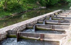 Fish ladder. River with a fish passage or fish way (fish ladder Royalty Free Stock Photography
