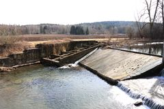 Fish ladder in river in thuringia germany stock photography