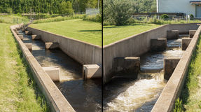 Fish Ladder Up and Down Views Stock Photo
