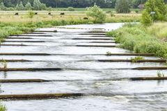 Fish ladders in the river Vecht near Beerze, Dutch. Fish ladders in the river Vecht near Beerze, Netherlands stock photography
