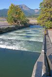 Fish Ladders. Salmon and other migratory fish pass through these water ladders at Bonneville Dam on the Columbia river, Oregon stock image