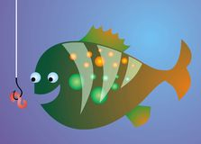 Fish in the lake (fishing). Isolated on the blue background Royalty Free Stock Photos