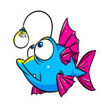 Fish lamp cartoon. Unusual fish lamp cartoon isolated illustration Stock Photography