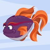 Fish with a large tail and fins. Colorful cartoon fish with a large tail and fins. The gentle marine background abstract. Vector illustration Royalty Free Stock Image