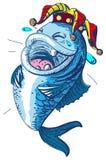 Fish laugh April 1 fools day. Clown crown king of fools royalty free illustration