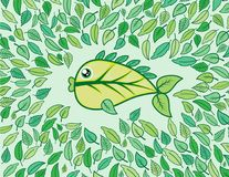 Fish from leaf with beautifull green colour. Fish with beautifull green color its look like a leaf Stock Photography