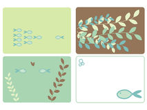 Fish and leaves designs Royalty Free Stock Images