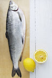 Fish and Lemon. Fresh Fish on Wooden Background. Space for Text or Recipe Stock Image